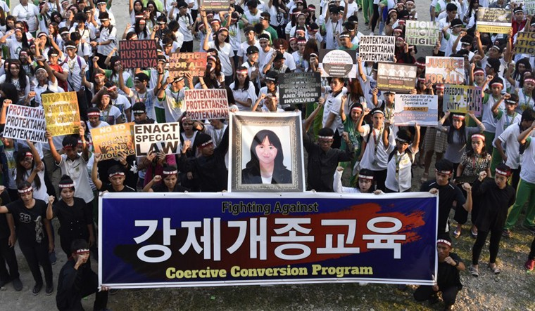 Demonstration in South Korea about forced deprogramming