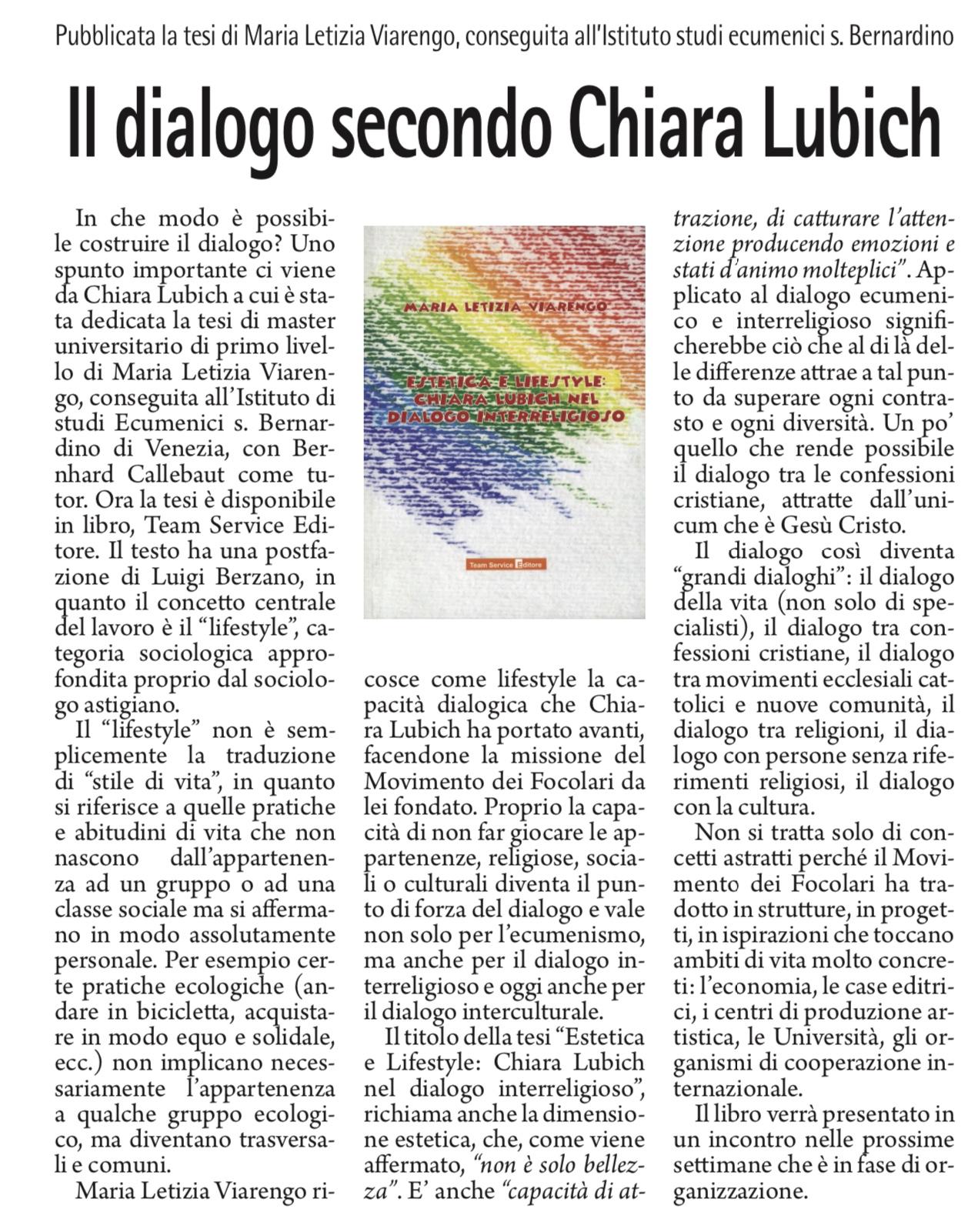 recensione libro Estetica e lifestyle: Chiara Lubich nel dialogo interreligioso